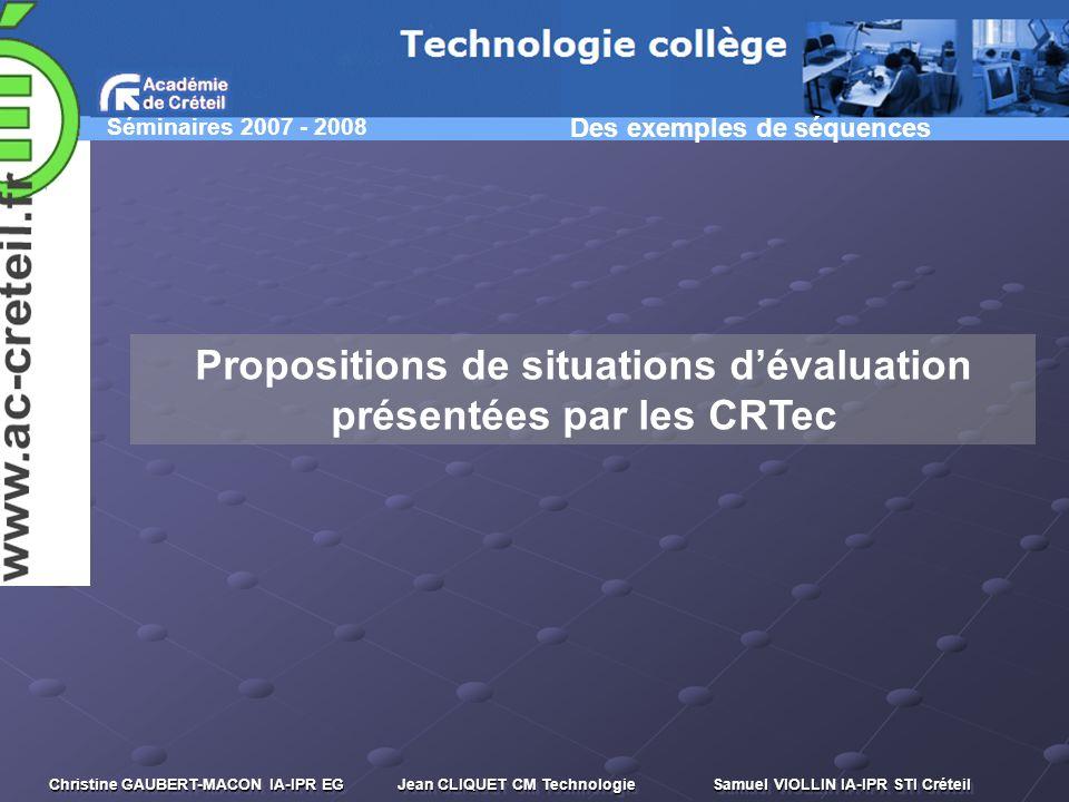 Propositions de situations d'évaluation présentées par les CRTec
