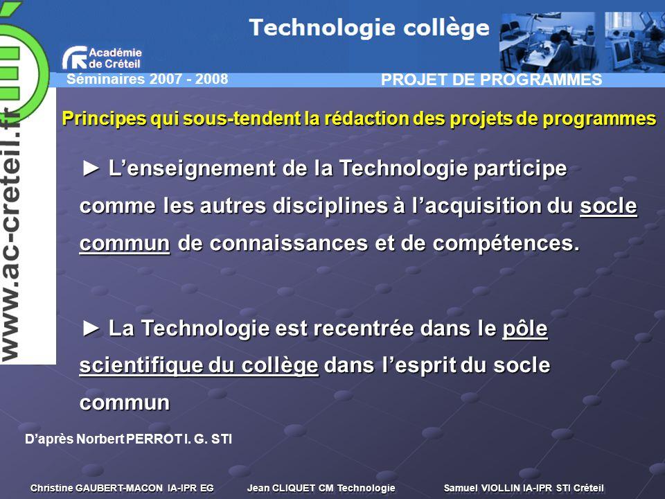 PROJET DE PROGRAMMES Principes qui sous-tendent la rédaction des projets de programmes.