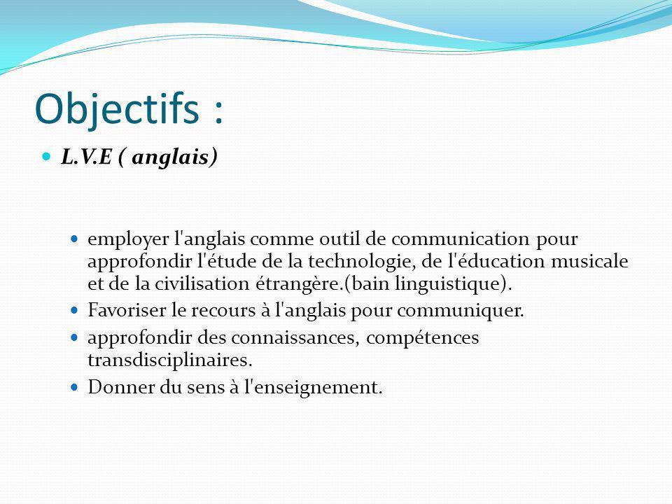 Objectifs : L.V.E ( anglais)