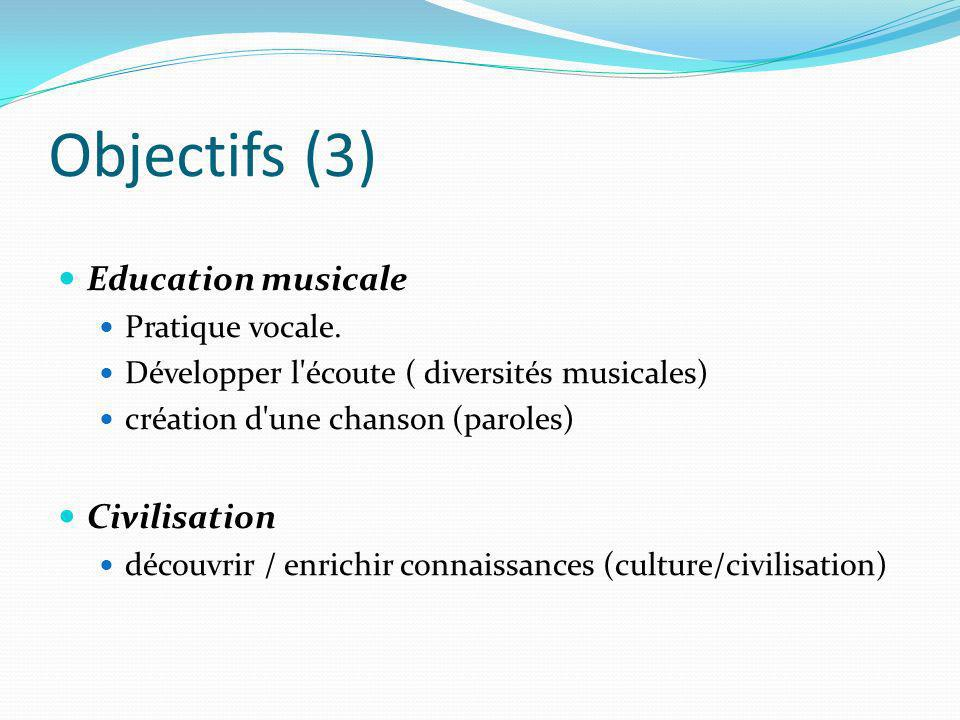 Objectifs (3) Education musicale Civilisation Pratique vocale.