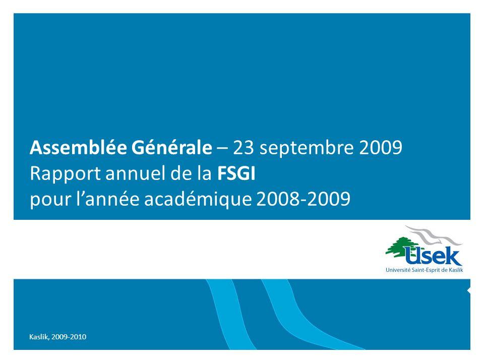 Assemblée Générale – 23 septembre 2009 Rapport annuel de la FSGI