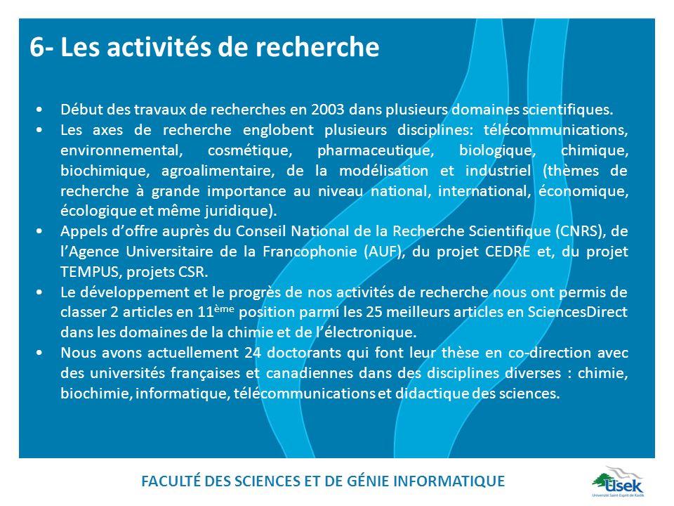 6- Les activités de recherche
