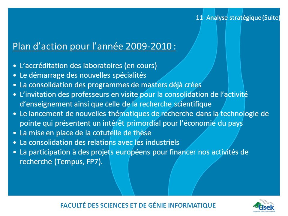 FACULTÉ DES SCIENCES ET DE GÉNIE INFORMATIQUE