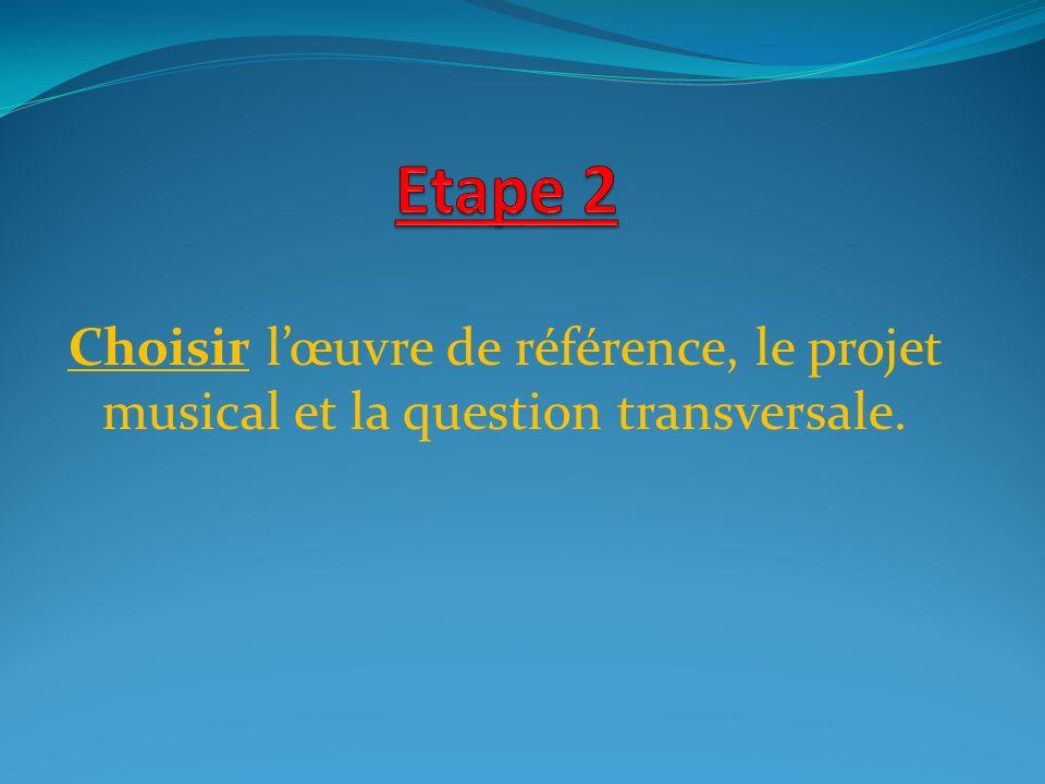 Etape 2 Choisir l'œuvre de référence, le projet musical et la question transversale.