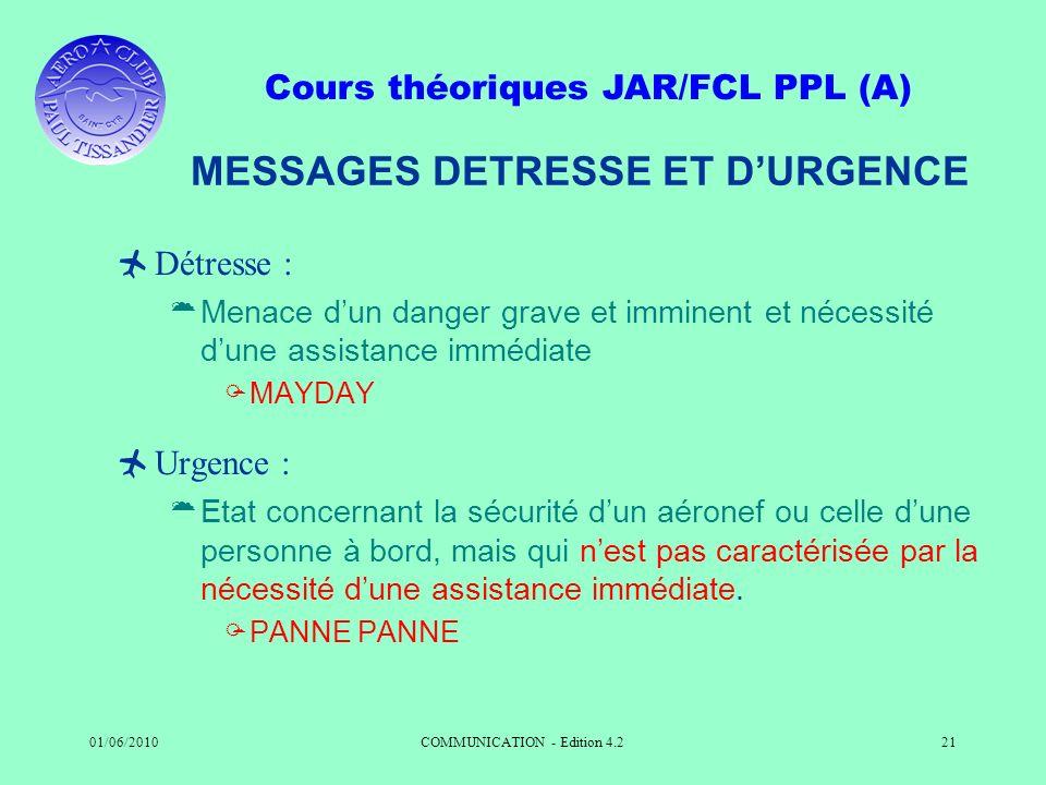 MESSAGES DETRESSE ET D'URGENCE