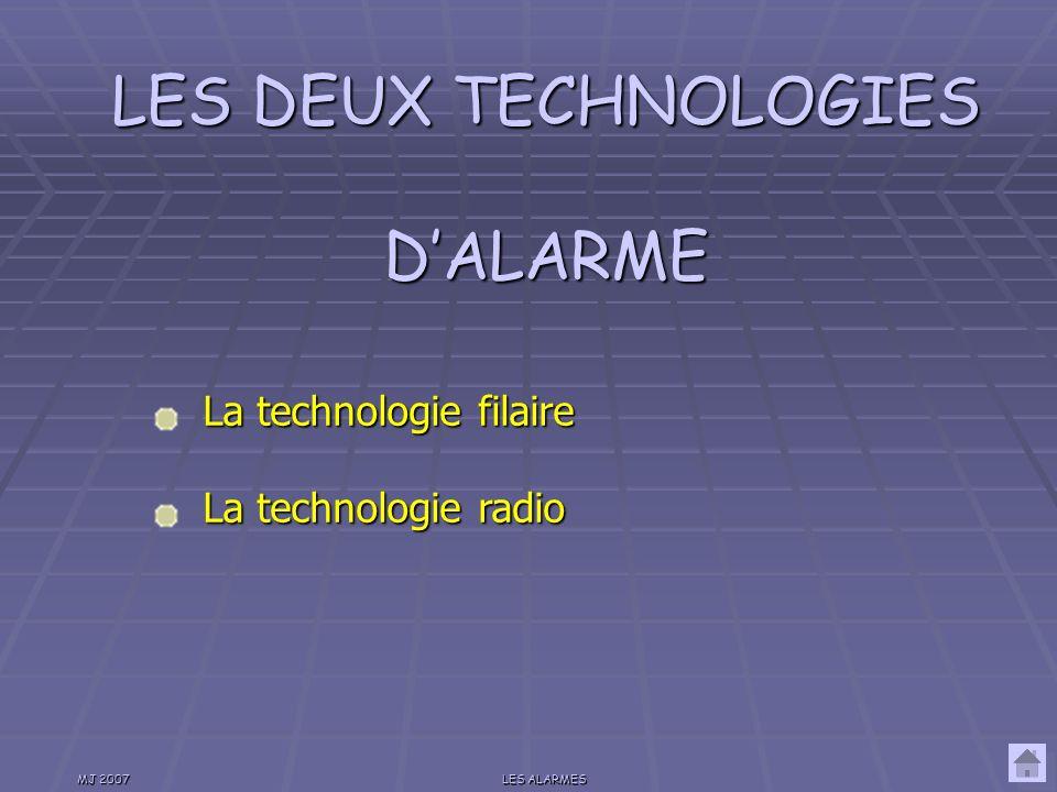 LES DEUX TECHNOLOGIES D'ALARME
