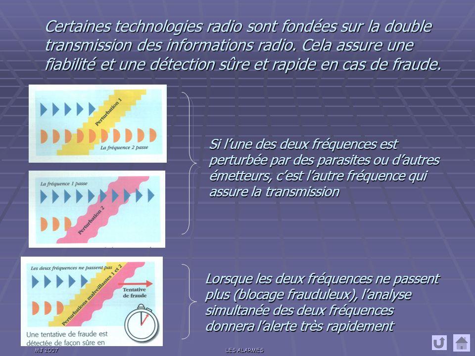 Certaines technologies radio sont fondées sur la double transmission des informations radio. Cela assure une fiabilité et une détection sûre et rapide en cas de fraude.