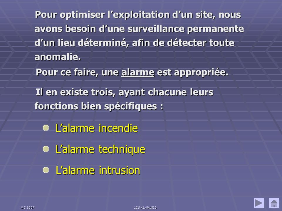 L'alarme intrusion L'alarme incendie L'alarme technique