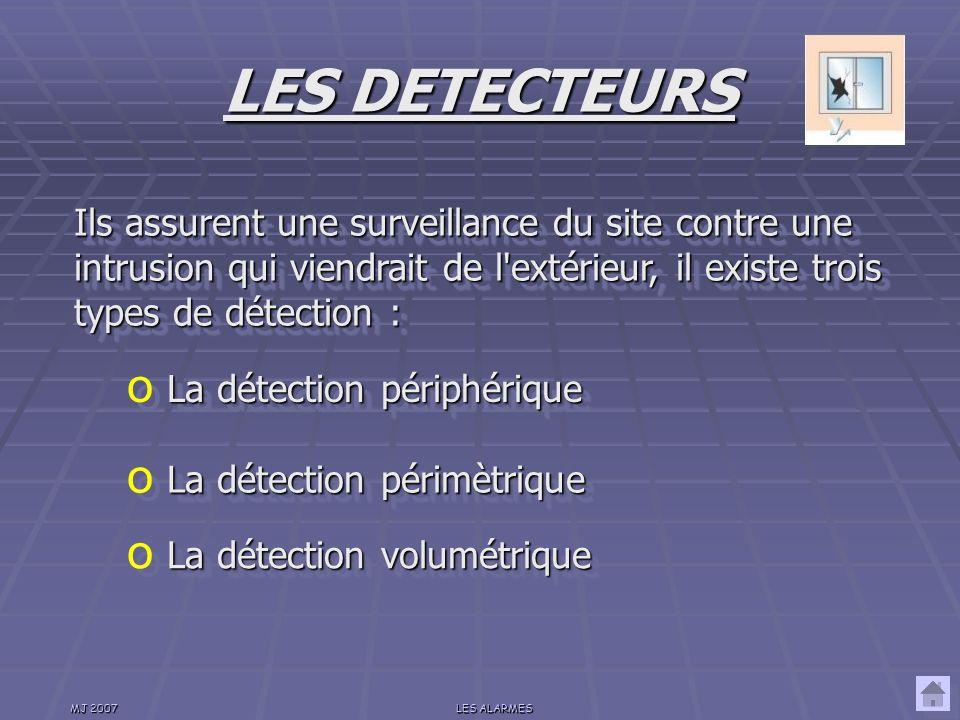 LES DETECTEURS Ils assurent une surveillance du site contre une intrusion qui viendrait de l extérieur, il existe trois types de détection :