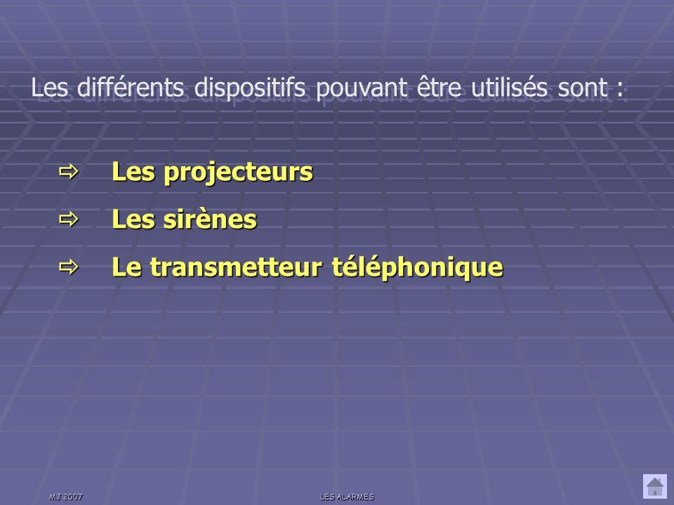Les différents dispositifs pouvant être utilisés sont :