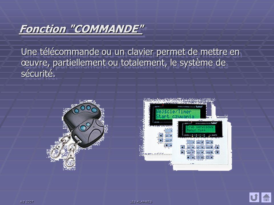 Fonction COMMANDE Une télécommande ou un clavier permet de mettre en œuvre, partiellement ou totalement, le système de sécurité.