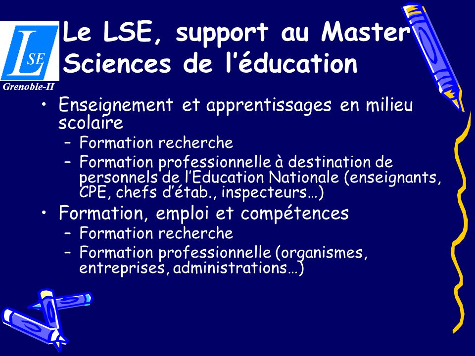 Le LSE, support au Master Sciences de l'éducation