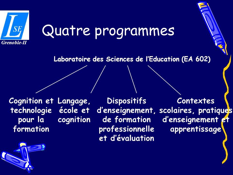 Quatre programmes Cognition et technologie pour la formation