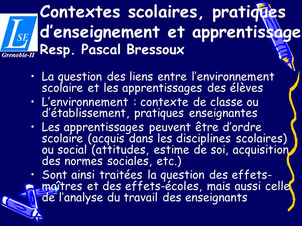 Contextes scolaires, pratiques d'enseignement et apprentissage Resp
