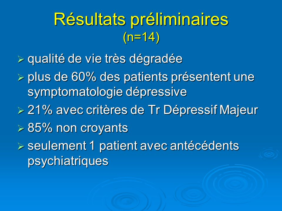 Résultats préliminaires (n=14)