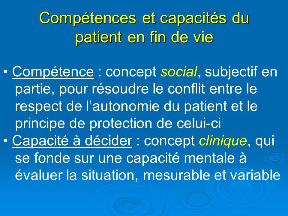 Compétences et capacités du patient en fin de vie