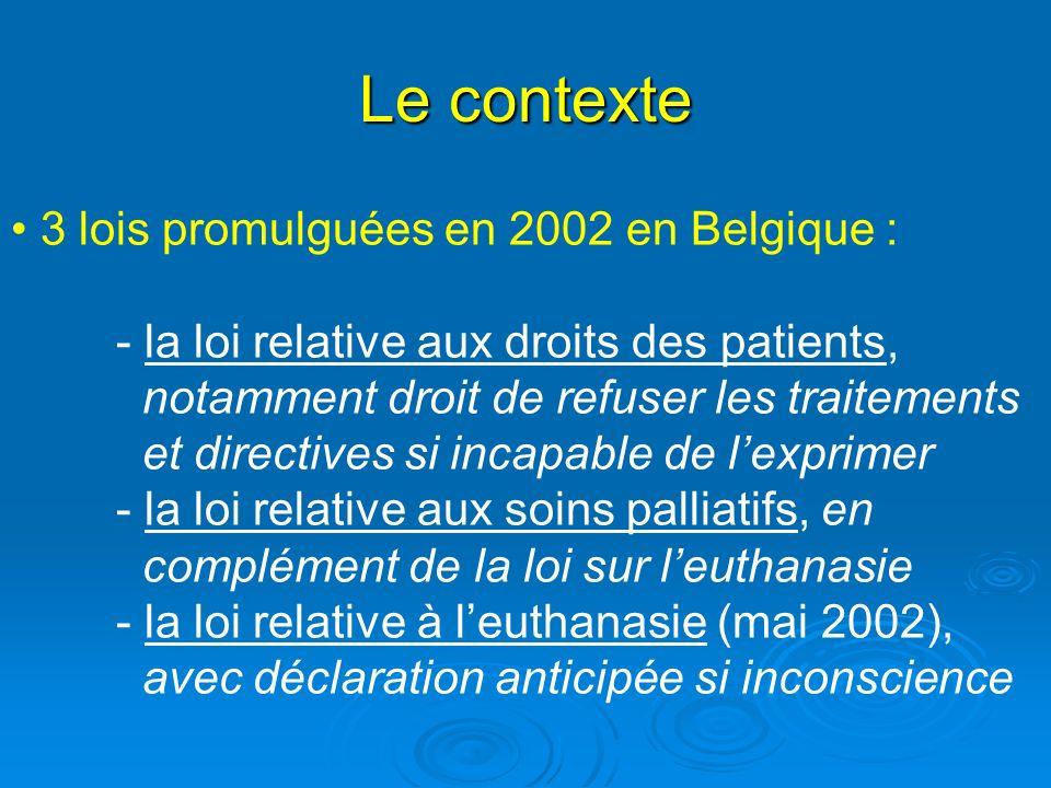 Le contexte 3 lois promulguées en 2002 en Belgique :