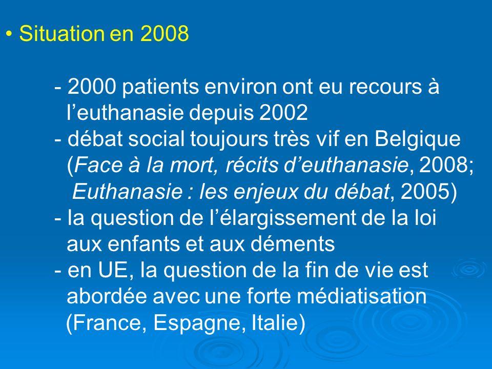 Situation en 2008 - 2000 patients environ ont eu recours à. l'euthanasie depuis 2002. - débat social toujours très vif en Belgique.