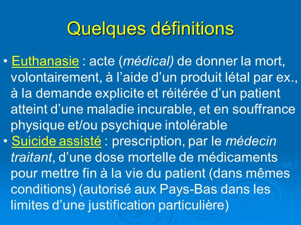 Quelques définitions Euthanasie : acte (médical) de donner la mort,