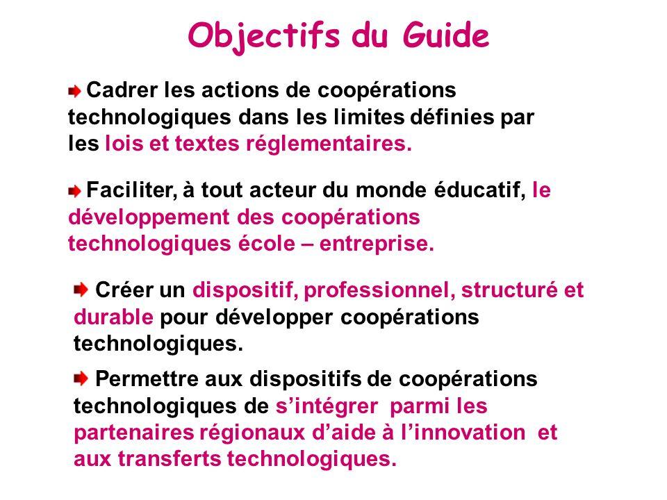 Objectifs du Guide Cadrer les actions de coopérations technologiques dans les limites définies par les lois et textes réglementaires.