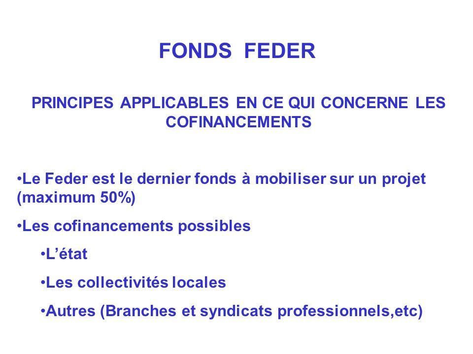 PRINCIPES APPLICABLES EN CE QUI CONCERNE LES COFINANCEMENTS