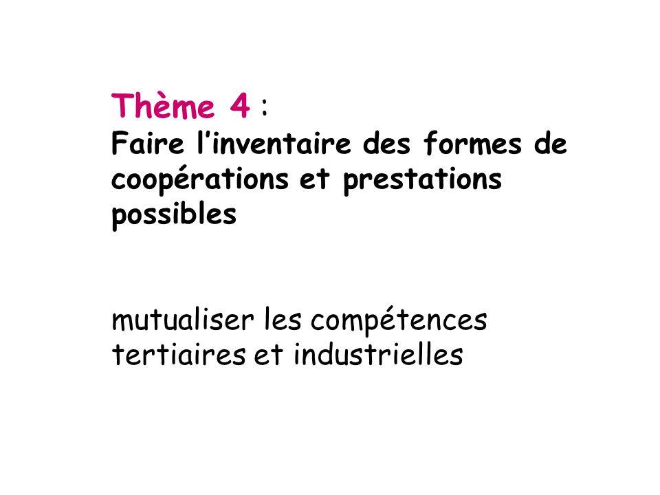 Thème 4 : Faire l'inventaire des formes de coopérations et prestations possibles.