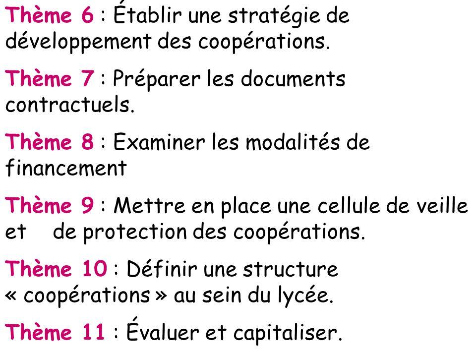 Thème 6 : Établir une stratégie de développement des coopérations.