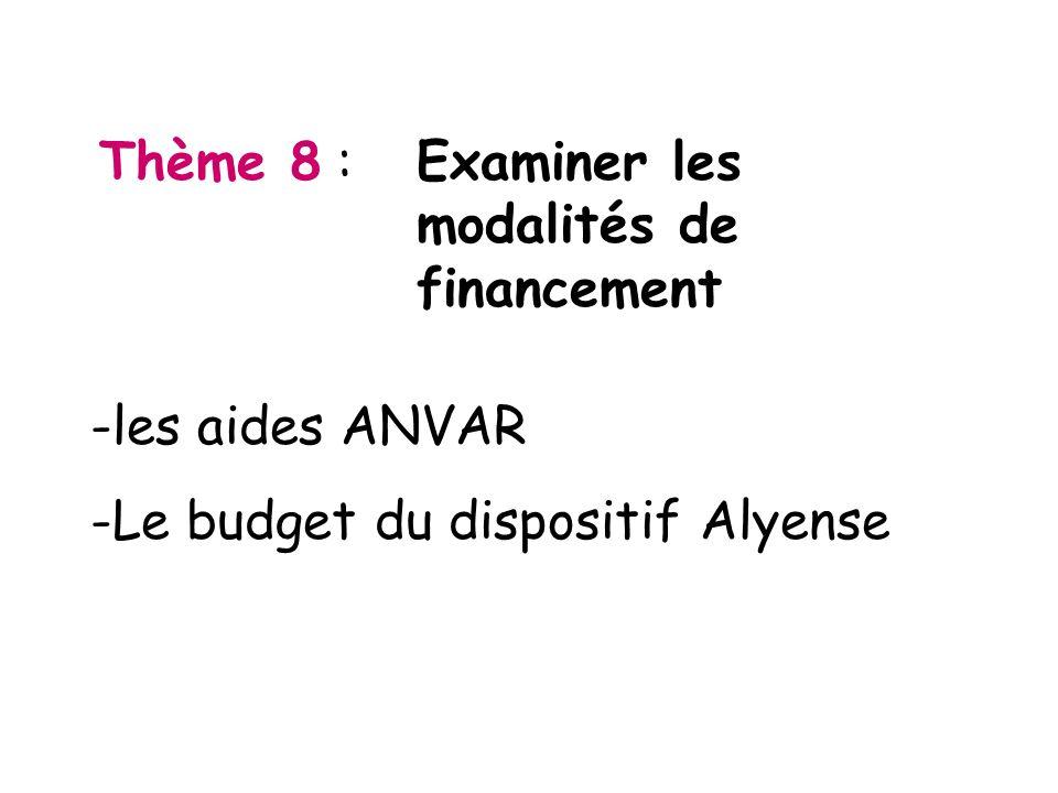 Thème 8 : Examiner les modalités de financement