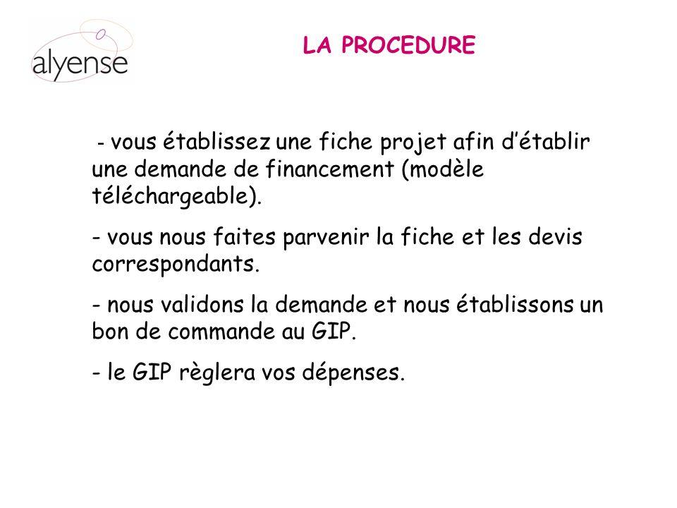 LA PROCEDURE - vous établissez une fiche projet afin d'établir une demande de financement (modèle téléchargeable).