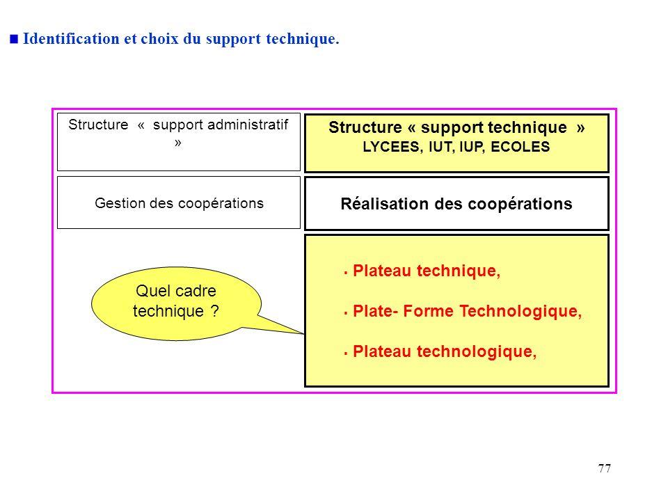 Structure « support technique » Réalisation des coopérations