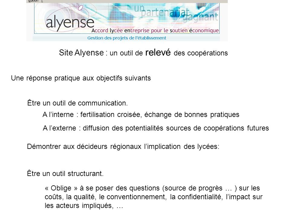 Site Alyense : un outil de relevé des coopérations