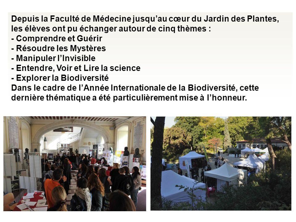 Depuis la Faculté de Médecine jusqu'au cœur du Jardin des Plantes, les élèves ont pu échanger autour de cinq thèmes :