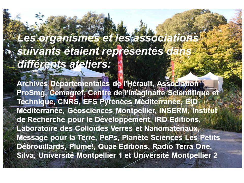 Les organismes et les associations suivants étaient représentés dans différents ateliers: