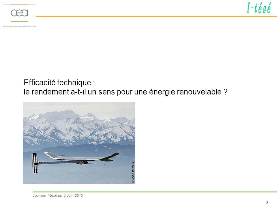 Efficacité technique : le rendement a-t-il un sens pour une énergie renouvelable