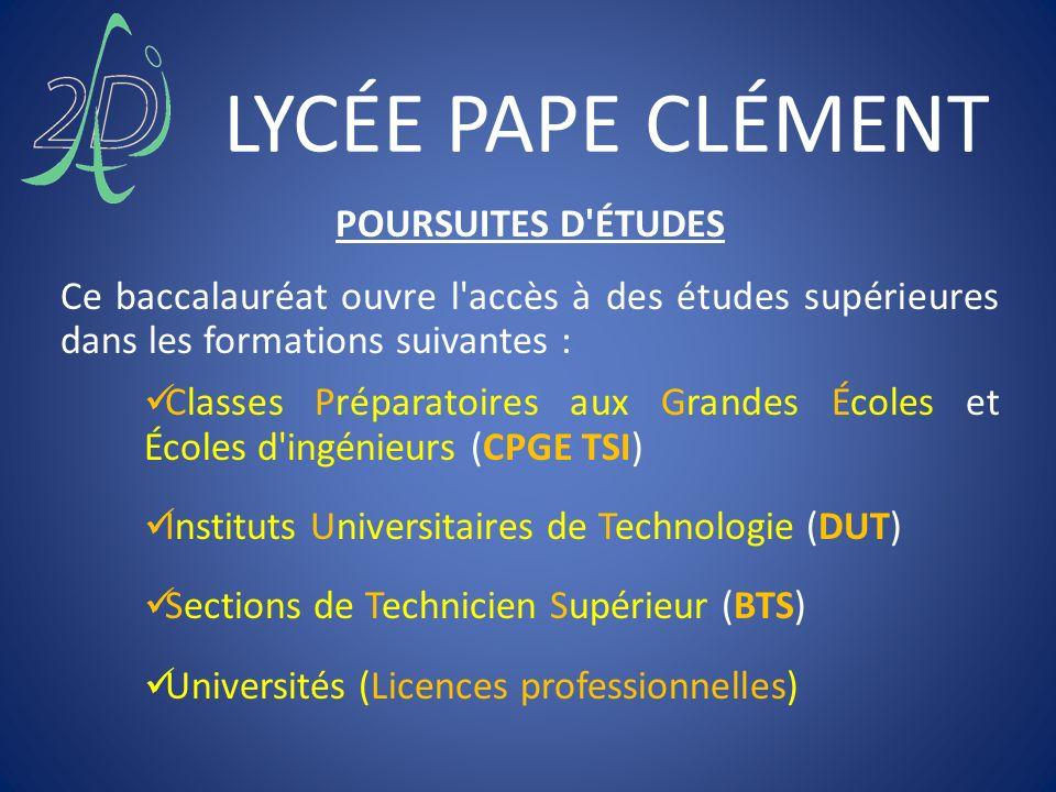 LYCÉE PAPE CLÉMENT POURSUITES D ÉTUDES