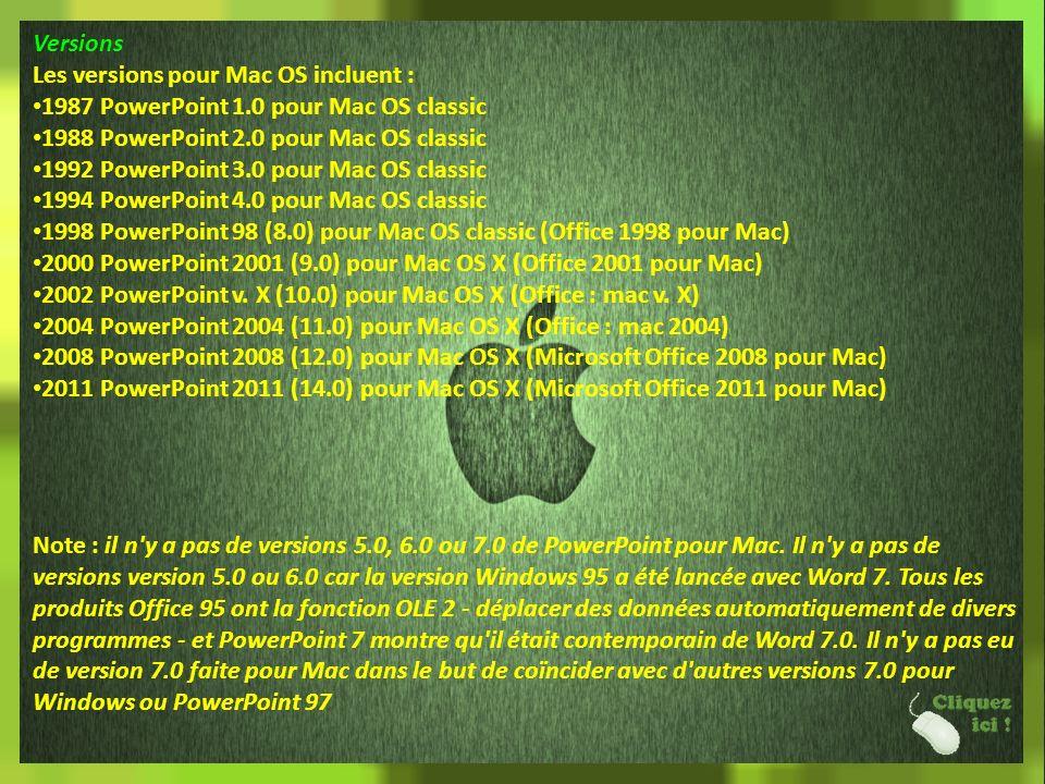 Versions Les versions pour Mac OS incluent : 1987 PowerPoint 1.0 pour Mac OS classic. 1988 PowerPoint 2.0 pour Mac OS classic.
