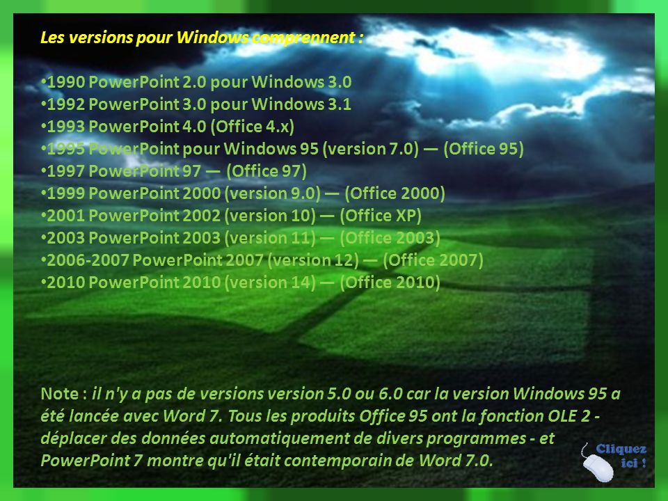 Les versions pour Windows comprennent :