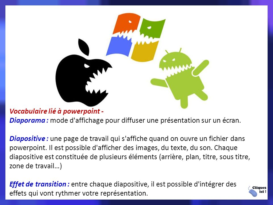 Vocabulaire lié à powerpoint -