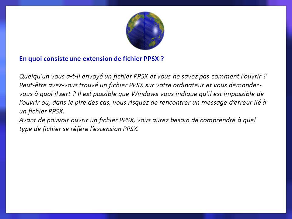 En quoi consiste une extension de fichier PPSX