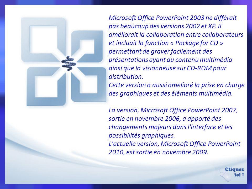 Microsoft Office PowerPoint 2003 ne différait pas beaucoup des versions 2002 et XP. Il améliorait la collaboration entre collaborateurs et incluait la fonction « Package for CD » permettant de graver facilement des présentations ayant du contenu multimédia ainsi que la visionneuse sur CD-ROM pour distribution.
