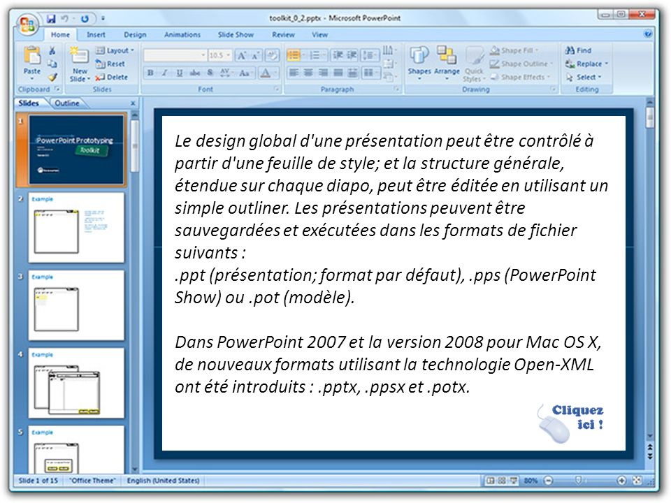 Le design global d une présentation peut être contrôlé à partir d une feuille de style; et la structure générale, étendue sur chaque diapo, peut être éditée en utilisant un simple outliner. Les présentations peuvent être sauvegardées et exécutées dans les formats de fichier