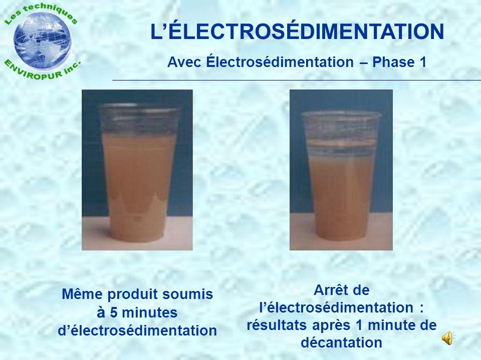 L'ÉLECTROSÉDIMENTATION Avec Électrosédimentation – Phase 1