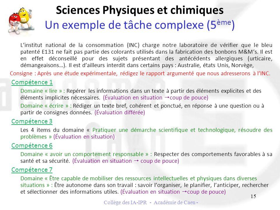 Sciences Physiques et chimiques Un exemple de tâche complexe (5ème)