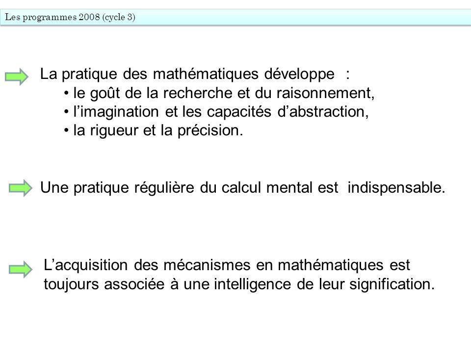 La pratique des mathématiques développe :
