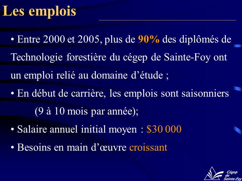Les emplois Entre 2000 et 2005, plus de 90% des diplômés de Technologie forestière du cégep de Sainte-Foy ont un emploi relié au domaine d'étude ;