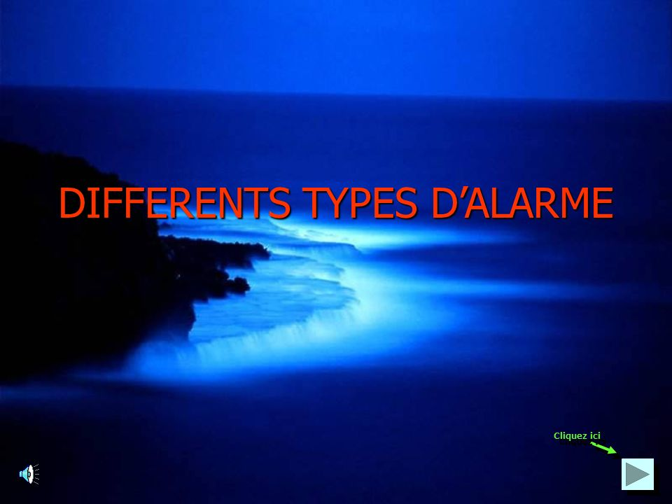 DIFFERENTS TYPES D'ALARME