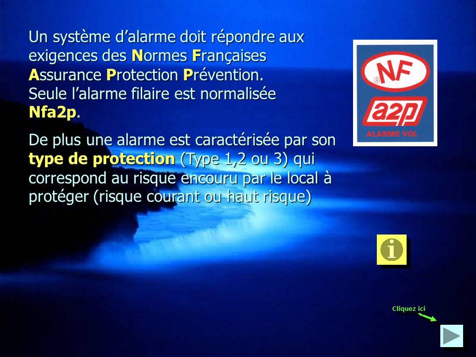 Un système d'alarme doit répondre aux exigences des Normes Françaises Assurance Protection Prévention. Seule l'alarme filaire est normalisée Nfa2p.