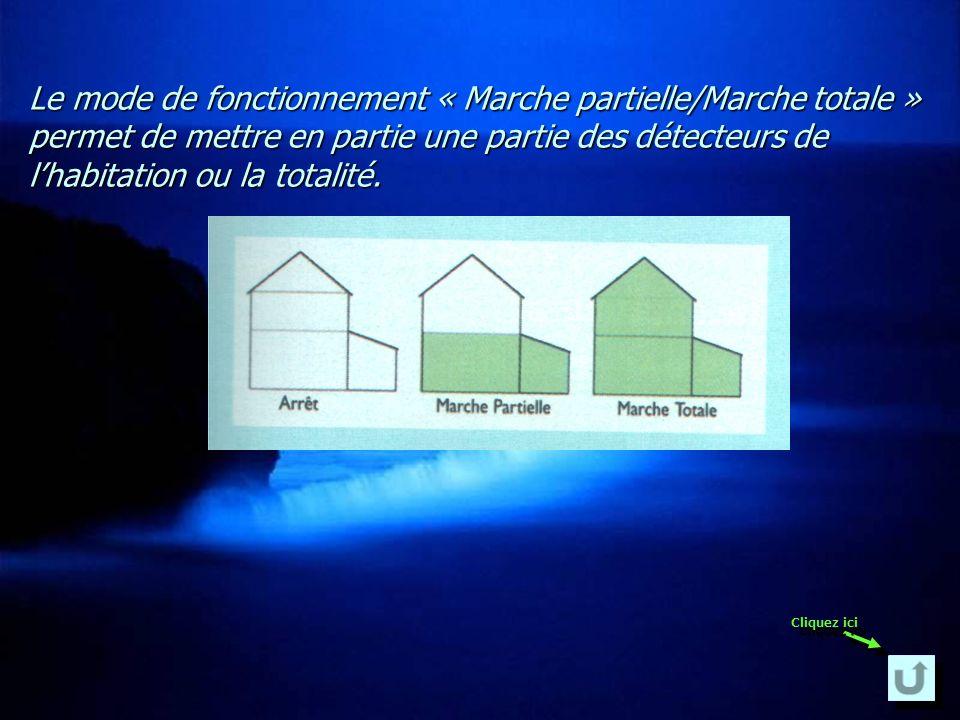 Le mode de fonctionnement « Marche partielle/Marche totale » permet de mettre en partie une partie des détecteurs de l'habitation ou la totalité.