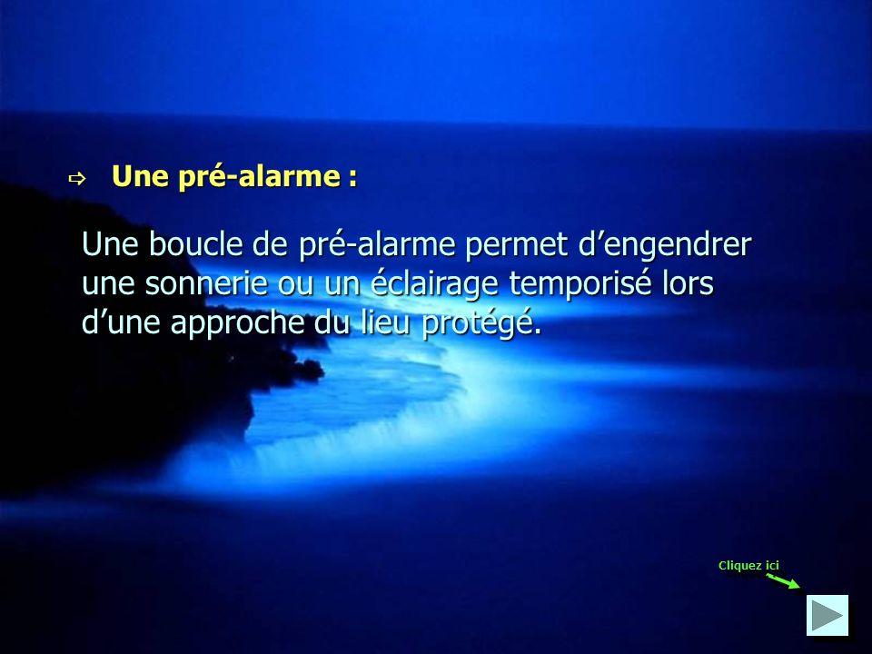  Une pré-alarme : Une boucle de pré-alarme permet d'engendrer une sonnerie ou un éclairage temporisé lors d'une approche du lieu protégé.