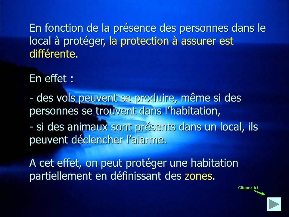 En fonction de la présence des personnes dans le local à protéger, la protection à assurer est différente.